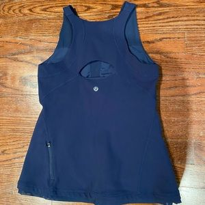 Navy Lululemon Racerback Tank with pocket